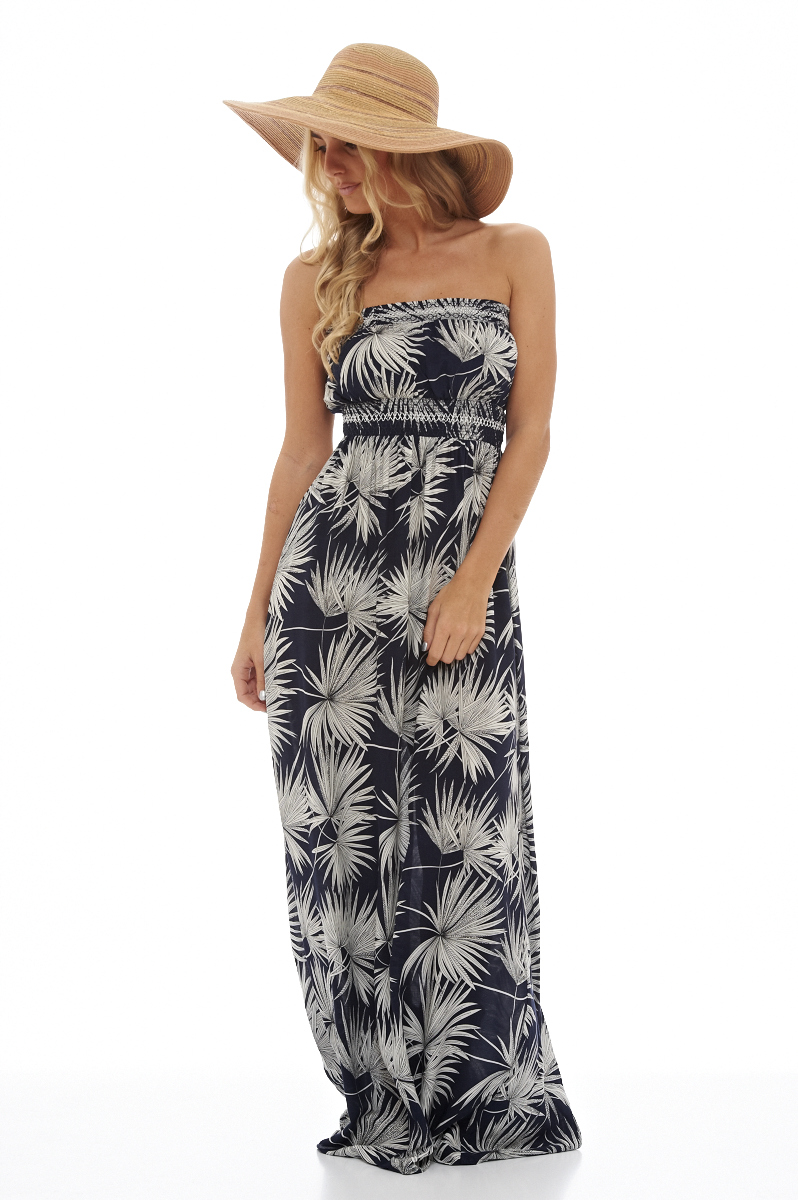 Leaf printed maxi dress