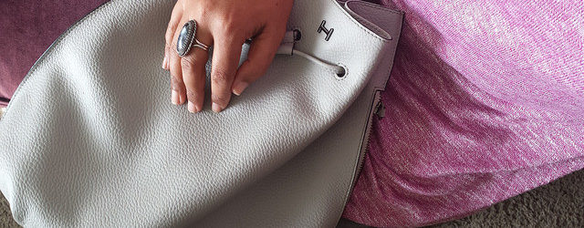 Halston grey handbag