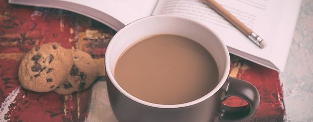 Coffee, cookies, and book