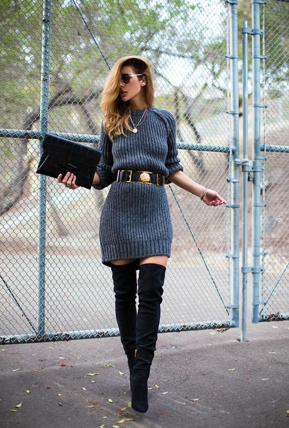 Over-the-knee boots with a bulky sweater
