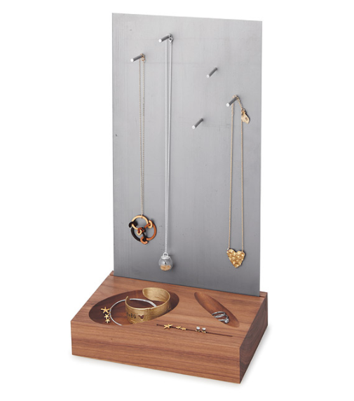Wood and steel jewelry organizer