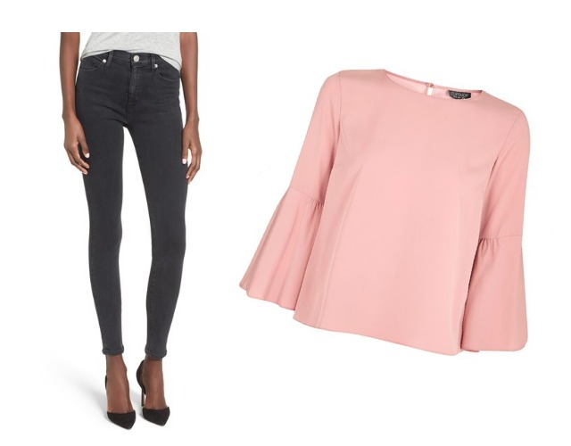 Pink trumpet sleeve top with super skinny jeans