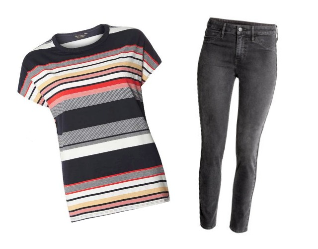 Striped shirt with grey skinny jeans