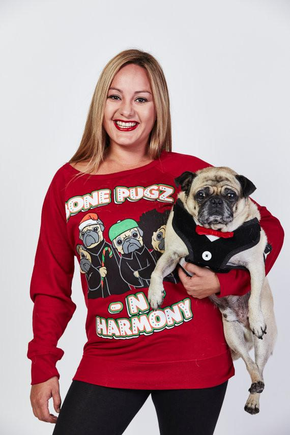Bone Pugz and Harmony Ugly Christmas Sweater